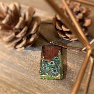 Jewelry - Miniature oil painting on wood pendant necklace
